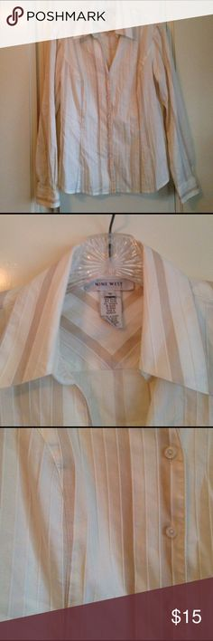 Cream striped button down EUC. Cream/beige button down Nine West Tops Button Down Shirts