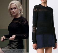 "iZombie: Season 3 Episode 5 Liv's Black Cut Out perforated Sweater | Shop Your TV Liv Moore (Rose McIver) wears this black cut out perforated sweater in this episode of iZombie, ""Spanking the Zombie"".  It is the DEREK LAM 10 CROSBY perforated sweater."