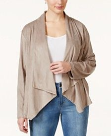 Style & Co. Plus Size Draped Faux-Suede Jacket, Only at Macy's