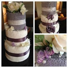 """Learn how to make a """"Towel Cake"""" and see pictures from the daughter of Linda Davies during her wedding shower."""