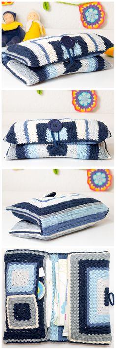 DIY: Häkel dir deine eigene superpraktische und einzigartige Windelasche aus Granny Squares! Auch Anfänger mit etwas Erfahrung können mit dieser Anleitung mit ganz viel Spaß die schöne Tasche häkeln!