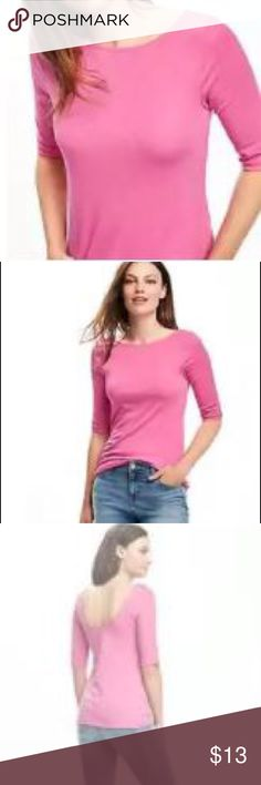 Classic Ballet- Back Tee Raspberry surprise! Slightly fitted through body Hits just below the waist. Boat neckline, deep scoop in back. Cotton/spandex elbow length sleeve. Soft Jersey with comfy stretch. NWT Old Navy Tops Tees - Short Sleeve