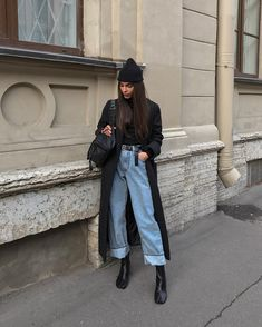 Holiday fashion party jeans 28 ideas for 2019 Mode Outfits, Grunge Outfits, Trendy Outfits, Fashion Outfits, Outfit Essentials, Looks Street Style, Looks Style, Wide Leg Pants Street Style, Holiday Fashion