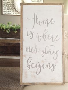 12x24 Home is where our story begins  Rustic Decor  by GracedHouse