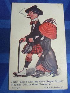 Vintage Comic Postcard 1911 Suffragette Harem Trousers Scotsman - REGENT STREET