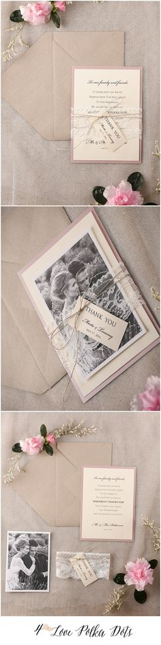 Pink Wedding Thank You card with your photo #pink #lace #romantic #wedding #thankyou #rustic #weddingideas #weddingcards