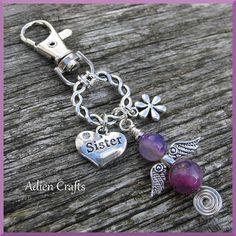 Sister Guardian Angel Purse or Bag Charm Purple by adiencrafts, £5.50