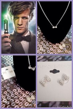 Doctor Who Bowties are Cool Silver Jewelry Set! New! Cubic Zirconia!