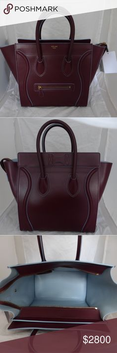 """NEW Celine Nano Luggage Burgundy Tote with blue p A NEW Celine Nano Luggage Burgundy Tote.  W-GA-0194 serial number , see pictures.  Celine Luggage Nano Bag Original Leather Burgundy  - Double rolled leather handles  - Top Zip Closure  - Leather lining  - Inside zip pocket  - Zip pocket on the front  Size: 12 """" H, 7 ' D, 12-19 L. Strap drop 4.5 """".  Comes With Celine tag and certificate number W-GA-0194 Celine Bags Totes"""