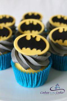 BATMAN CUPCAKES Here is a dozen superhero cupcakes with grey buttercream icing and fondant batman toppers. Happy birthday Jameson! www.cakesbythelake.com.au