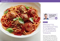 Spaghettis aux boulettes végétariennes - La Presse+ Healthy Eating Tips, Healthy Nutrition, Spaghetti, Vegetable Drinks, Food Menu, Vegetarian Recipes, Meal Recipes, Tasty, Meals