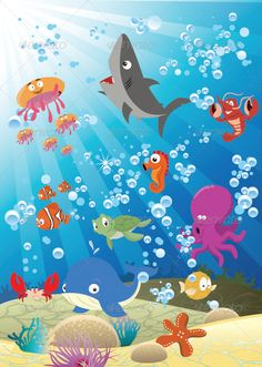 Sea Animals Vector and cartoon illustration. Cute sea animals in the ocean. Created: GraphicsFilesIncluded: JPGImage Layered: Yes MinimumAdobeCSVersion: CS Tags: beautiful Cartoon Sea Animals, Cartoon Fish, Baby Animals, Animals Sea, Safari Animals, Drawing For Kids, Art For Kids, Meer Illustration, Wall Art