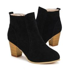short cylinder Martin Side  zipper  ankle  high heels boots shoes - Stylish n Trendier - 6