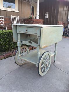 Antique Tea Cart, Chalk Paint Cottage Green, French Country - Local Pick Up - No Shipping by VintageFurnitureSoCa on Etsy https://www.etsy.com/listing/219819345/antique-tea-cart-chalk-paint-cottage