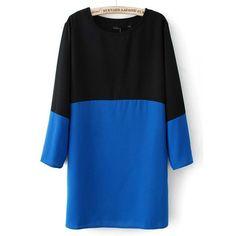 Ruim vallend jurkje met lange mouw en twee kleur vlakken. Bovenkant is in het zwart en onderkant is kobalt blauw. Dit jurkje heeft ook twee zakken. bij www.miss-p.nl