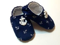 Nautical Baby Boy Shoes with Anchors.