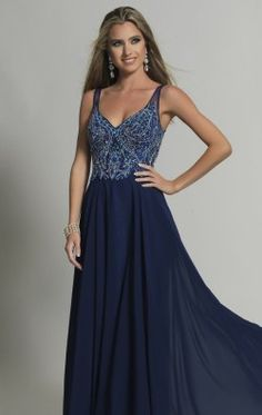 Beaded V-Neck Gown by Dave and Johnny 2501