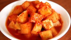 Cubed radish kimchi (kkakdugi: 깍두기) http://www.maangchi.com/recipe/kkakdugi