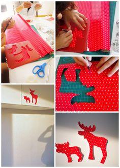 Mi casa en Navidad: Los renos silueteados de papel de regalo : x4duros.com