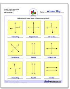 Simple Parallel, Perpendicular and Intersecting Lines Basic Geometry Worksheet! Simple Parallel, Perpendicular and Intersecting Lines Basic Geometry Worksheet Free Printable Math Worksheets, Worksheets For Kids, Decimal, Author's Purpose Worksheet, Parallel And Perpendicular Lines, Geometric Terms, Montessori, Angles Worksheet, Teachers