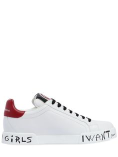 """DOLCE & GABBANA - 20MM LOVE & GRAFFITI LEATHER SNEAKERS - SNEAKERS - WHITE/RED - Luisaviaroma - 20mm Rubber sole. Reinforced eyelets. Terrycloth patches . Graffiti writing may vary slightly . Right shoe with """"Play"""" tag on tongue. Left shoe with heart tag on tongue"""