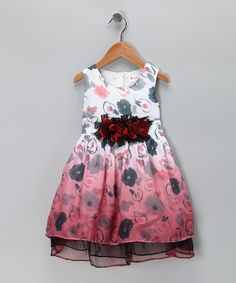Take a look at this Red Floral Chiffon Dress - Toddler & Girls on zulily today!