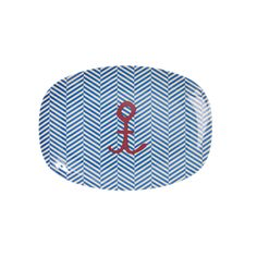 Hire melamine anchor kids party plates for 20p each from Make It Pop. Perfect for a nautical party theme.
