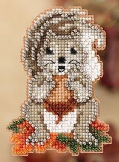 Cross stitch/beaded squirrel  ornament by Mill HIll