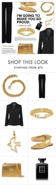 """""""Black and Gold"""" by applesofgoldjewelry ❤ liked on Polyvore featuring STELLA McCARTNEY, Alexander McQueen, Butter, Dolce&Gabbana, Apples of Gold and Chanel"""