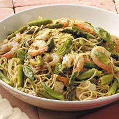 shrimp pesto pasta: basil, 3T evoo, 1/4c lemon juice, 2 garlic cloves, 1/2 t salt, 3/4 lb shrimp, 1/8t crushed red pepper flakes