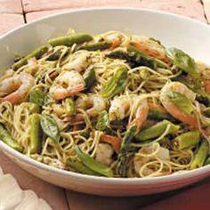shrimp pesto pasta: basil, 3T evoo, 1/4c lemon juice, 2 garlic cloves, 1/2 t salt, 3/4 lb shrimp, 1/8t crushed red pepper flakes