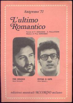 """Pino Donaggio + Peppino Di Capri """"L'ultimo romantico"""" (spartito) Sanremo 1971"""