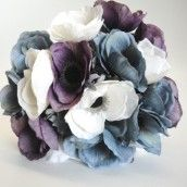 Grey Purple & Ivory Anemone Silk Wedding Bouquet.  Love the colours in this bouquet amethyst purple, winter white and slate blue grey.  Great for a winter wedding.