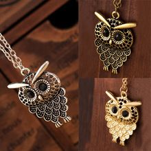 Vintage Women Owl Pendant Neclace Long Sweater Chain Jewelry Golden Antique Silver Bronze Charm fashion free shipping(China (Mainland))