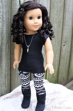 Custom American Girl Doll ~ Brown Eyes and Short Curly Black / Dark Brown Hair - Julie with Cecile's wig and custom outfit. www.facebook.com/beautifullycustom