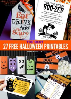 Spooktacular Halloween Free Printables for kids and adults! I've put together 27 of my favorite free Halloween printables that you can use to save money this Halloween without missing out on the Halloween fun! OHMY-CREATIVE.COM #halloweenprintables Halloween Juice, Halloween Bucket List, Halloween Gifts, Halloween Themes, Halloween Decorations, Halloween Party, Halloween 2019, Halloween Snacks, Halloween Goodie Bags