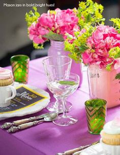 Easter table trends- mason jars in bright bold hues! #DebiLillyDesign #safeway #masonjars #spring #easter