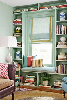 Beautiful book shelves and window seat...
