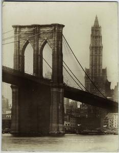 Brooklyn Bridge & Woolworth B'ldg. [Brooklyn Bridge and Woolworth Building.] (1921)