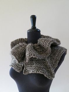 Forest Mist Gray Khaki Color Knitted Capelet by KnitsomeStudio, $57.00