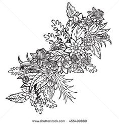 Bouquet Of Flowers Coloring Book For Adults Raster Illustration