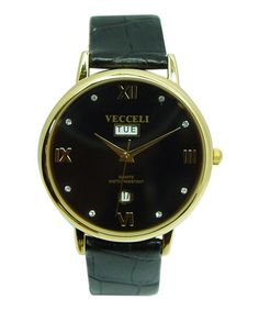 Take a look at this Black Roman Numeral Circle Watch by Vecceli Italy on #zulily today!