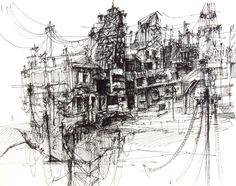 City of Wires - sketches by Ksymena Borczynska