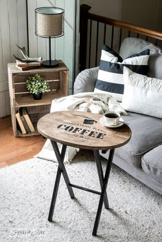 Coffee and hot cocoa themed Christmas and everyday interchangeable TV tray, from pallet wood and Funky Junk's Old Sign Stencils