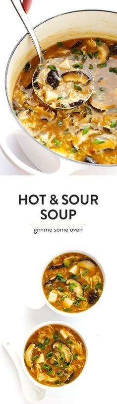 This Hot and Sour Soup recipe is quick and easy to make, SO tasty and flavorful, and tastes just like the Chinese restaurant version! | gimmesomeoven.com Like it extra hot? Add in more chili garlic sauce. Like it extra sour? Add in more rice wine vinegar. Like it vegetarian? Make it with tofu. Like the meat version? Just add in some pork.
