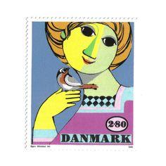 Stamp from Danmark, The work of Danish artist Bjørn Wiinblad Postage Stamp Design, Postage Stamp Collection, Scandinavian Art, Love Stamps, Vintage Stamps, Small Art, Quilt Tutorials, Stamp Collecting, My Stamp