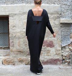 Black Maxi dress, Caftan, Plus size dress, Backless Dress , Oversized Dress , Sleeveless dress , Open back dress,Fall Winter Dress