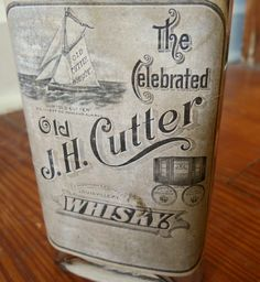 Old J H Cutter Whiskey Bottle with Label Louisville KY