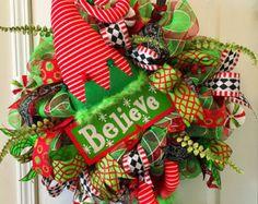 Christmas Wreath Front Door Christmas Wreath by WreathsbyMelissaH
