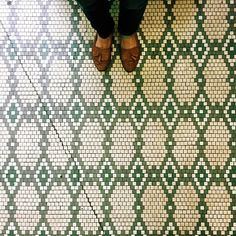 Green and white geometric pattern small square penny tile